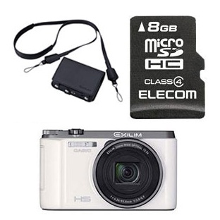 CASIO / Casio HIGH SPEED EXILIM EX-ZR1100 (white) + 8 GB Micro SD card & en soft case set-fs04gm